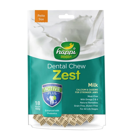 2 FOR $14.90: Happi Doggy Zest Milk Dental Dog Chew 150g