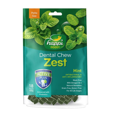 10% OFF: Happi Doggy Zest Mint Dental Dog Chew 150g - Kohepets