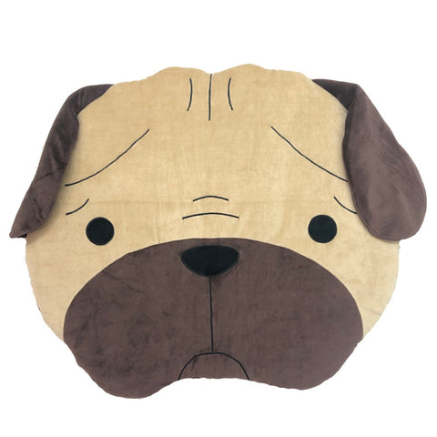 Hey Cuzzies Organic Cotton Pug Head Dog Bed - Kohepets