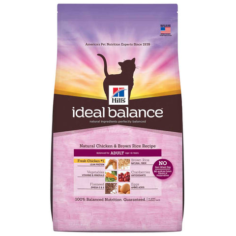 Hill's Ideal Balance Natural Chicken & Brown Rice Adult Dry Cat Food - Kohepets