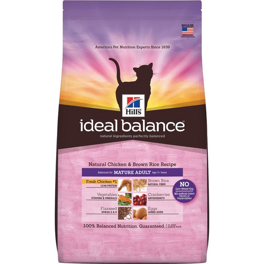 Hill's Ideal Balance Natural Chicken & Brown Rice Mature Adult Dry Cat Food 3.5lb