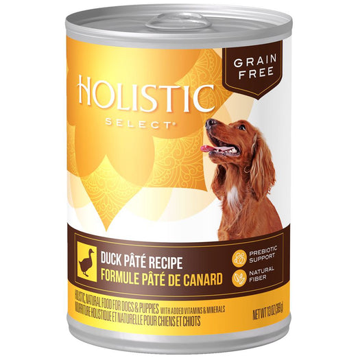 15% OFF (Exp 20 Jun): Holistic Select Grain Free Duck Pate Canned Dog Food 369g - Kohepets