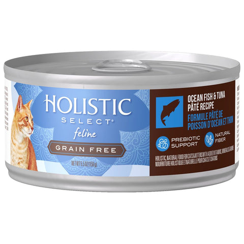 BUY 3 GET 1 FREE: Holistic Select Grain Free Ocean Fish & Tuna Pate Canned Cat Food 156g