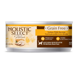 BUY 3 GET 1 FREE: Holistic Select Grain Free Turkey Pate Canned Cat Food 156g