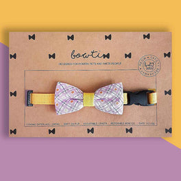 Bowtix Handmade Cat Collar With Removable Bowtie - Honey Wisteria