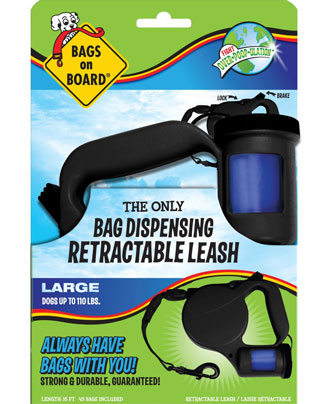 Bags On Board Retractable Leash With Built-In Bag Dispenser Black Large - Kohepets