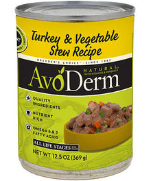 Avoderm Natural Turkey And Vegetable Stew Canned Dog Food 368g