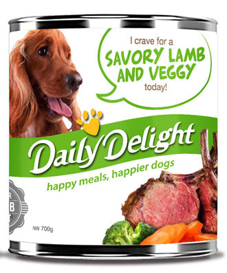 Daily Delight Savory Lamb And Veggy Canned Dog Food 700g - Kohepets