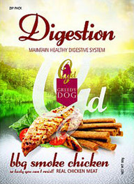 3 FOR $10: Greedy Dog Digestion BBQ Smoke Chicken Dog Treat 80g