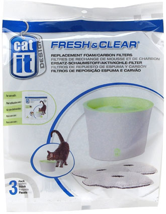 Catit Replacement 3 Pack Carbon & Foam Cartridge For Fresh & Clear Water Fountain
