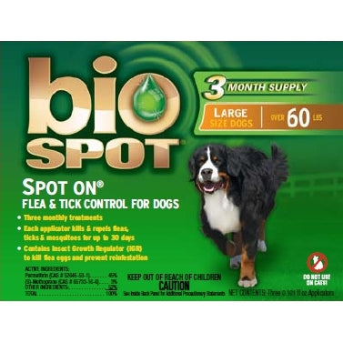 Bio Spot Spot On Flea & Tick Control For Dogs - Over 60Lbs - Kohepets