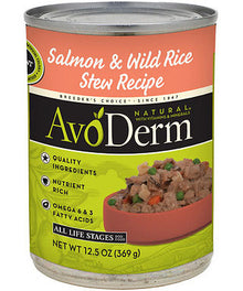 Avoderm Natural Salmon And Wild Rice Stew Canned Dog Food 368g