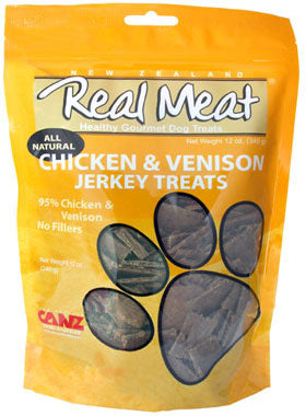 Real Meat All Natural Chicken & Venison Jerky Dog Treats 4oz - Kohepets