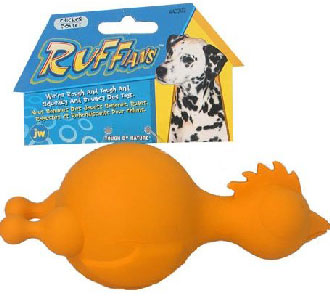 JW Ruffians Chicken Rubber Dog Toy Small