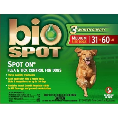 Bio Spot Spot On Flea & Tick Control For Dogs - 31 To 60Lbs - Kohepets