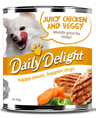 Daily Delight Juicy Chicken And Veggy Canned Dog Food 700g