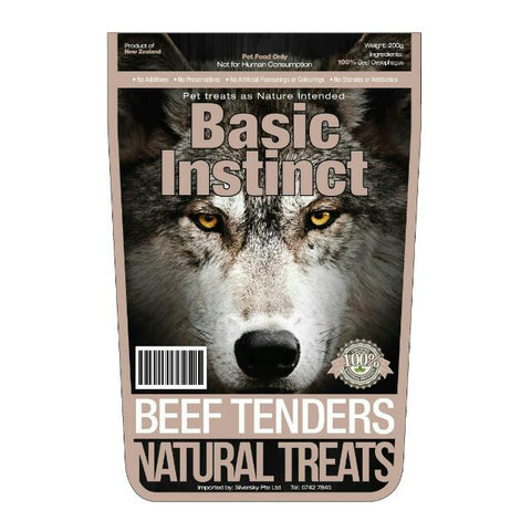 Basic Instinct Beef Tenders Dog Treat 200g - Kohepets