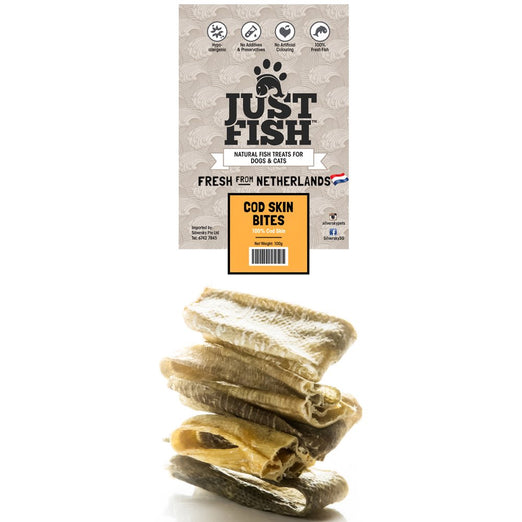 Just Fish Cod Skin Bites Dog & Cat Treats 100g - Kohepets