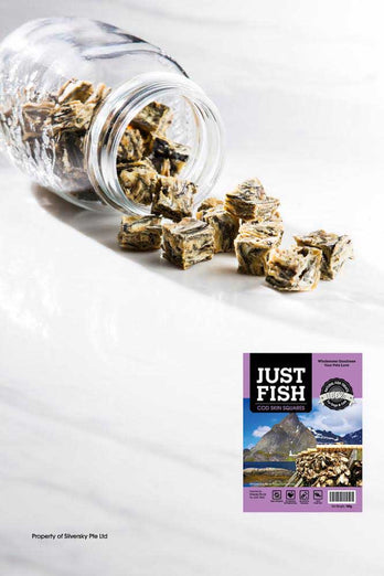 Just Fish Cod Skin Squares All Natural & Hypo-Allergenic Treats For Dogs & Cats 100g