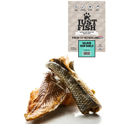 Just Fish Salmon Skin Curls Dog & Cat Treats 250g - Kohepets