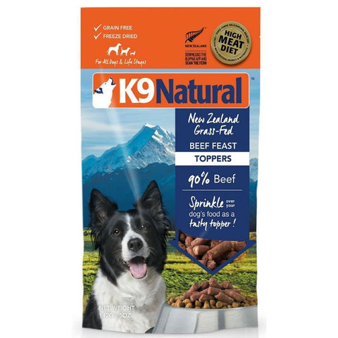 K9 Natural Freeze Dried Beef Feast Dog Food Topper 5oz - Kohepets