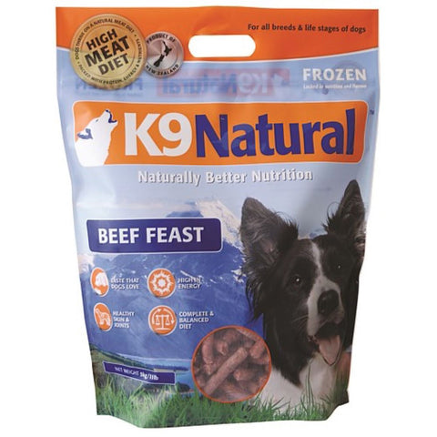 K9 Natural Raw Frozen Beef Feast Dog Food
