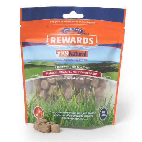 K9 Natural Freeze Dried Grass Fed Venison Rewards Dog Treats 50g