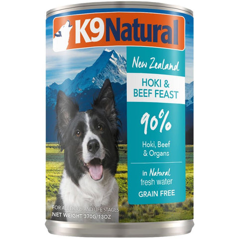 K9 Natural Hoki & Beef Feast Grain-Free Canned Dog Food 370g