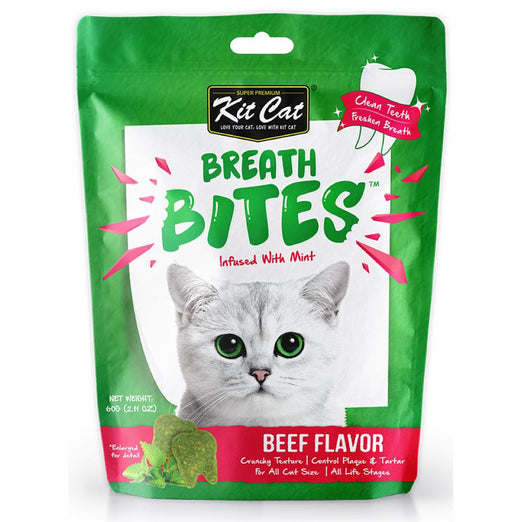3 FOR $8.50: Kit Cat Breath Bites Mint & Beef Flavour Dental Cat Treats 60g