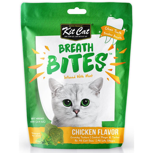 3 FOR $8.50: Kit Cat Breath Bites Mint & Chicken Flavour Dental Cat Treats 60g