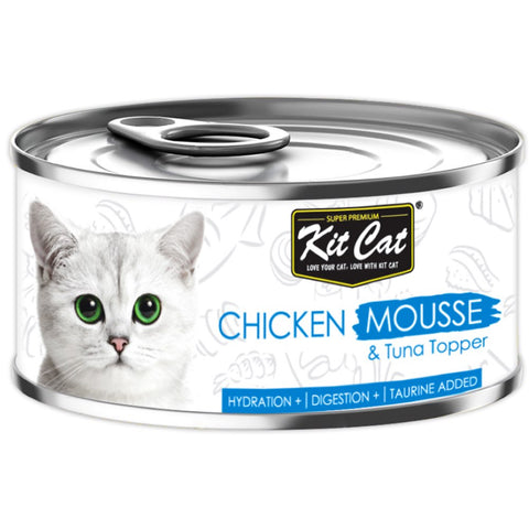 Kit Cat Chicken Mousse & Tuna Topper Canned Cat Food 80g