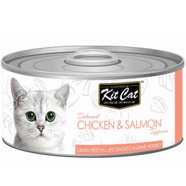 Kit Cat Deboned Chicken & Salmon Toppers Canned Cat Food 80g