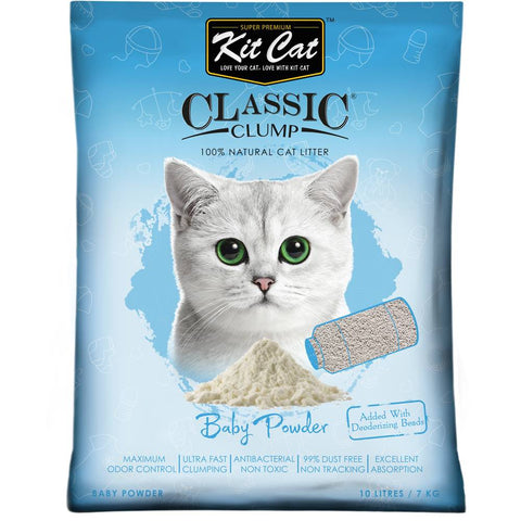 Kit Cat Classic Clump Baby Powder Clay Cat Litter 10L
