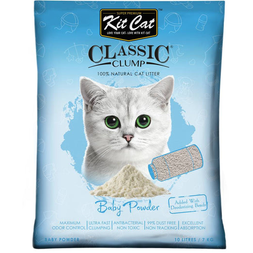 Kit Cat Classic Clump Baby Powder Clay Cat Litter 10L - Kohepets