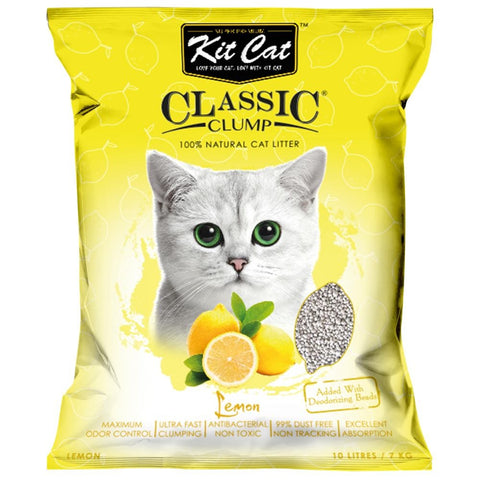 Kit Cat Classic Clump Lemon Clay Cat Litter 10L - Kohepets