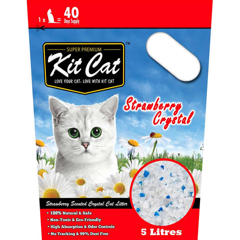 Kit Cat Crystal Litter, Strawberry Cat Litter 5L