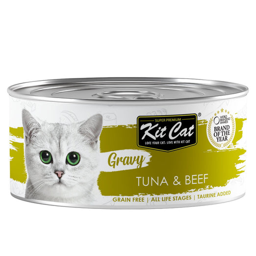 Kit Cat Gravy Tuna & Beef Grain-Free Canned Cat Food 70g - Kohepets