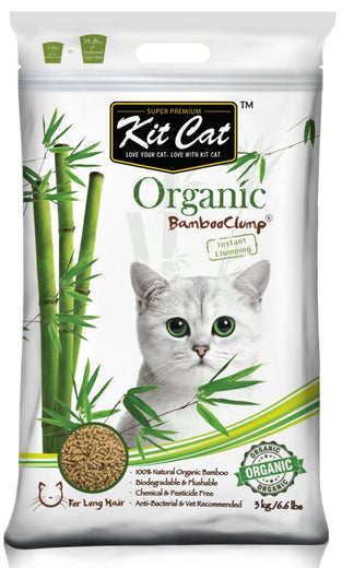 Kit Cat Organic BambooClump Cat Litter for Long Hair Cats - Kohepets