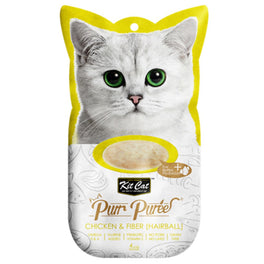 15% OFF: Kit Cat Purr Puree Chicken & Fiber (Hairball) Cat Treat 60g