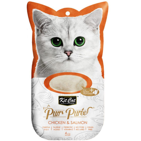 15% OFF: Kit Cat Purr Puree Chicken & Salmon Cat Treat 60g
