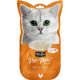 15% OFF: Kit Cat Purr Puree Plus Skin & Coat Chicken Cat Treats 60g