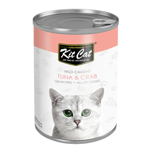 Kit Cat Wild Caught Tuna & Crab Grain Free Canned Cat Food 400g - Kohepets