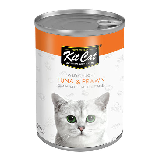 Kit Cat Wild Caught Tuna & Prawn Grain Free Canned Cat Food 400g - Kohepets