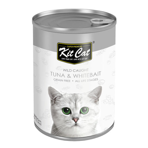 Kit Cat Wild Caught Tuna & Whitebait Grain Free Canned Cat Food 400g - Kohepets