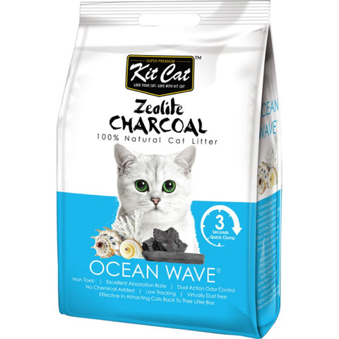 Kit Cat Zeolite Charcoal Ocean Wave Cat Litter 4kg - Kohepets