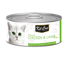Kit Cat Grain-Free Deboned Chicken & Lamb Aspic Canned Cat Food 80g