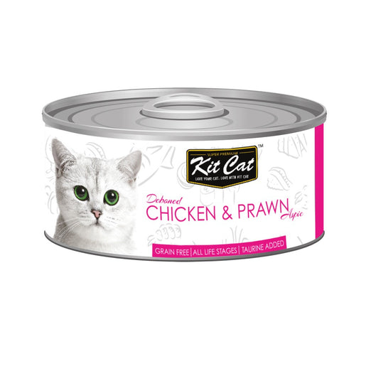 Kit Cat Grain-Free Deboned Chicken & Prawn Aspic Canned Cat Food 80g