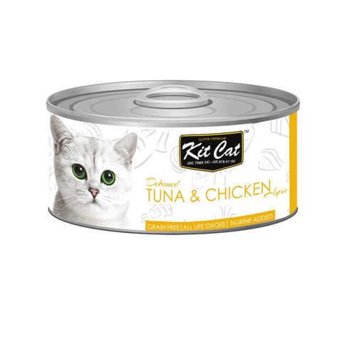 Kit Cat Grain-Free Deboned Tuna & Chicken Aspic Canned Cat Food 80g