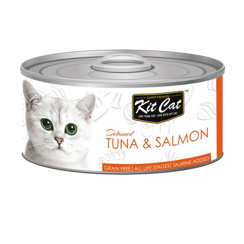 Kit Cat Grain-Free Deboned Tuna & Salmon Canned Cat Food 80g - Kohepets