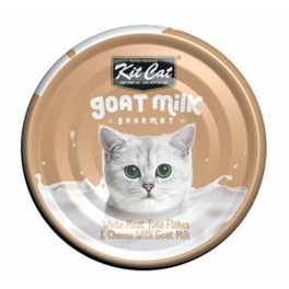 Kit Cat Goat Milk Gourmet White Meat Tuna Flakes & Cheese Canned Cat Food 70g